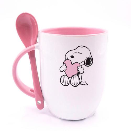 Imagen 1 de 1 de Taza Snoopy Personalizada Con Cuchara Rosa Ceramica Regalo