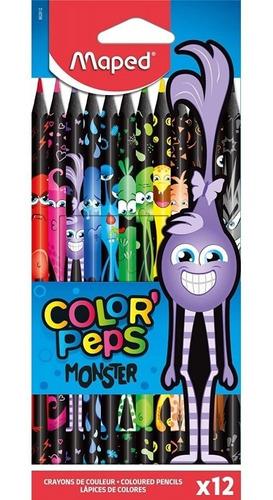 Imagen 1 de 4 de Lapices De Colores Black Monster X12 Maped Color Peps Edu