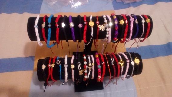 Lote 55 Pulseras Tejidas, Exhibidor Y Envío Gratis!!!