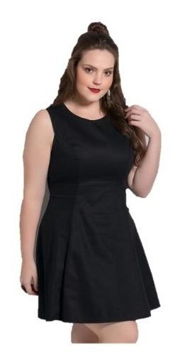 Vestido Evasê Preto Plus Size Roupas Femininas Psd 1863190