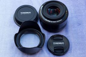 Lente Yongnuo 35mm 2.0 Para Canon Com Parasol E Filtro Uv