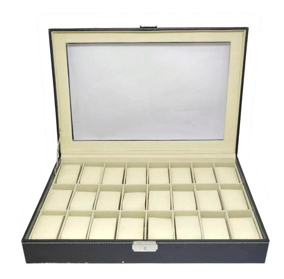 Caixa Estojo Guarda Porta 24 Relógios Couro Grande Luxo