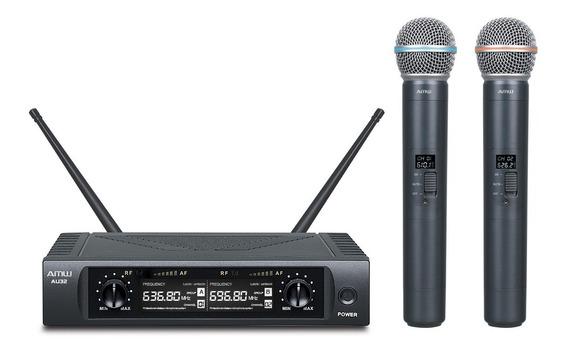 Microfone Sem Fio Duplo De Mão Em Metal Amw Au32 Uhf - Usado