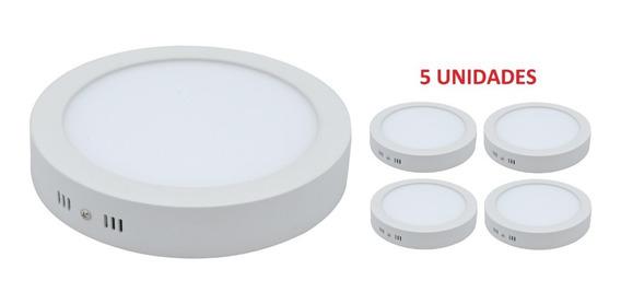 Kit5 Plafon Luminária Teto De Led Sobrepor Redondo 36w 3000k