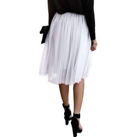 6141aea5e5 Moda Mujeres Moda Falda Tul Malla Cintura Elástica De Color