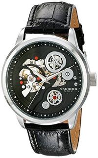 Akribos Xxiv Mens Ak538bk Mecanico Acero Inoxidable Reloj Es