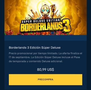 Borderlands 3 Edicion Super Deluxe , Pc Online Hist