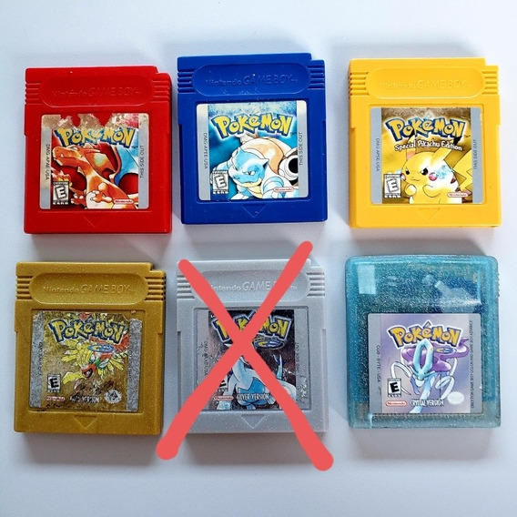 Lote Pokemon Crystal Red Yellow Blue Gold Nintendo Gameboy