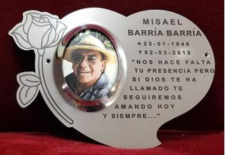 Placa Recordatoria Cementerio 20x15 Corazon Rosa Acero Inox