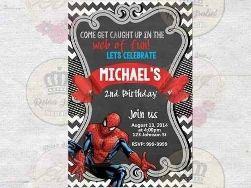 Tarjeta Invitacion Cumpleaños Superheroe Spiderman Avengers