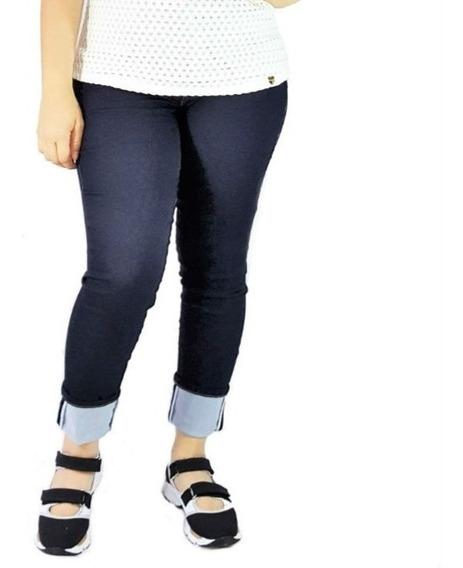Calça Jeans Feminina Skinny Barra Dobrada Anticelulite Borda