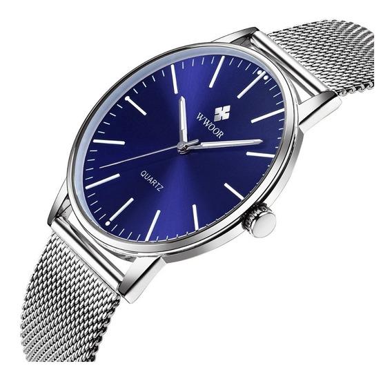 Relógio Wwoor Ultra Fino Slim Na Caixa + Cartão Azul