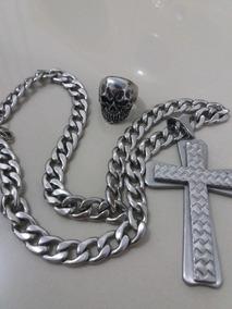 Crucifixo Aço Inox + Anel Caveira Aço Inox.