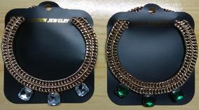 Kit 2 Colar Aço Dourado Pedras Branca E Verde Frete Grátis