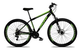 Bicicleta Aro 29 Freio Disco 21v Aço Preto Verde Dropp