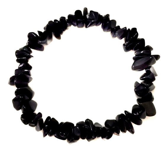 Pulseira Cascalho Pedra Cristal Natural Obsidiana Negra