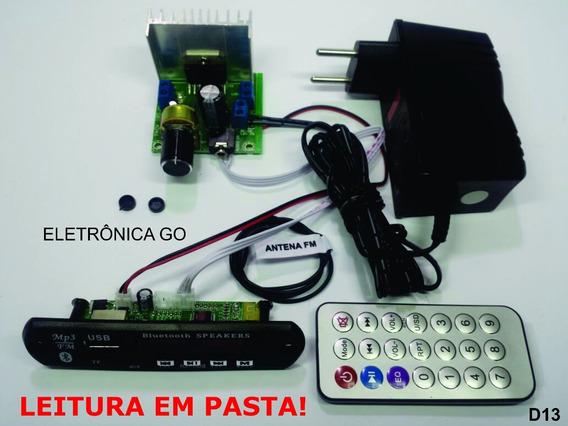 Placa Amplificador 30w + Fonte + Leitor De Usb Bluetooth D13
