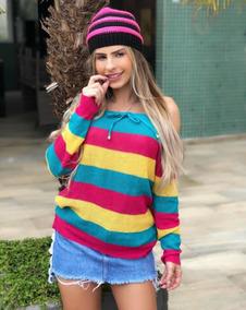 Blusa De Frio Tricot Croche Colorida Cigana Com Cordinha