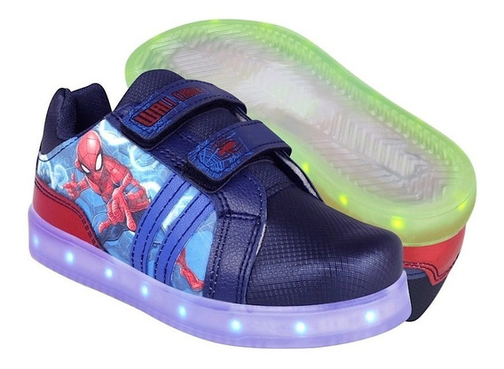 Tenis Led Spiderman Para Niño Simipiel Marino Con Rojo 3507