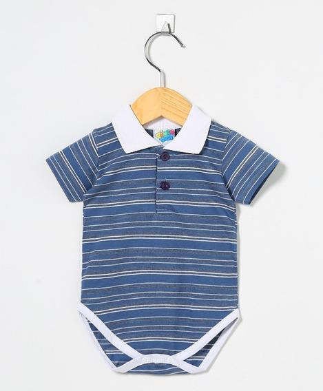 Body Bebê Menino Gola Polo Listrado