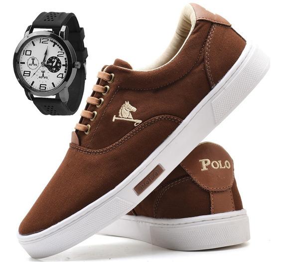 Tenis Masculino Polo Joy Sapato Sapatenis + Relógio