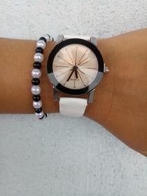 Relógio Feminino Quartzo Branco + Pulseira Gratis