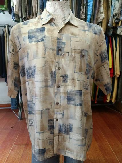 Camisa Hawaiana Beige Con Peces Y Cuadros Talle Xl -25