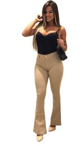 Kit 3 Calças Jeans Feminina Flare Flair C/ Lycra Boca Larga