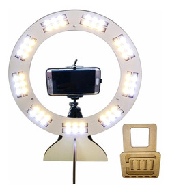 Ring Light Led Selfie Maquiagem Tripé P/ Celular Blog Branco
