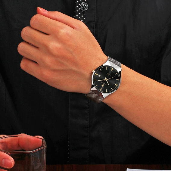 Relógio Unisex Luxo Wwoor 8016 Ultra Fino Quartzo Fre Grátis