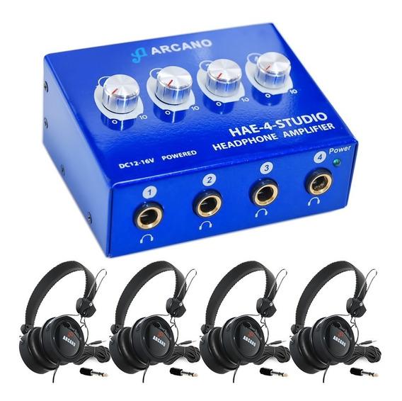 Amplificador De Fones Arcano Hae-4-studio + 4 Fones Live-11