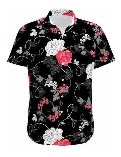 Kit 3 Camisa Social Masculina Floral Estampada Manga Curta