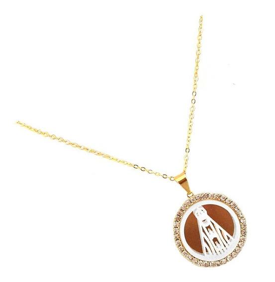 Gargantilha Medalha Esmaltada Strass Aparecida Banhado Ouro