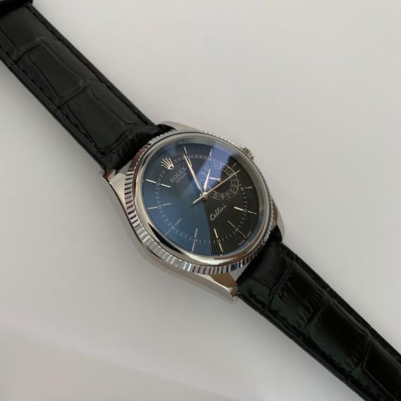 Reloj Rolex Cellini Automatico Plateado Piel Negro 323r