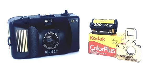 Câmera Fotográfica 35mm Antiga + Filme + Chaveiro De Brinde