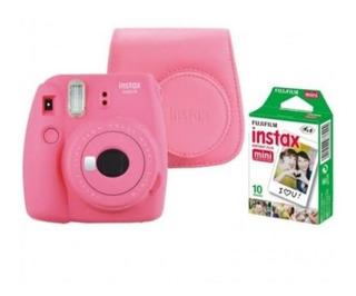 Cámara Instax Mini 9 Rosa Con Estuche + 10 Fotos
