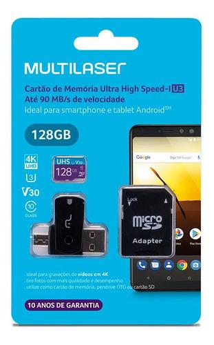 Imagem 1 de 3 de Cartão De Memoria Para Celular Micro Sd 128gb Multilaser