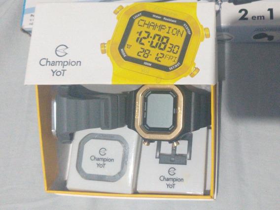 Relógio Champion Yot Cp40180x Preto Cinza