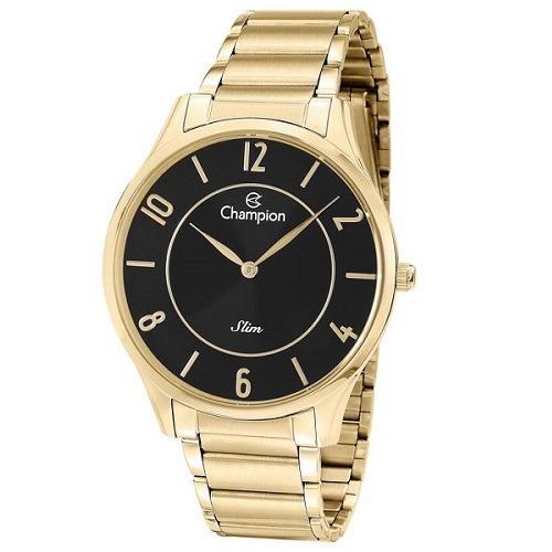 Relógio Champion Masculino Slim Dourado Preto Original