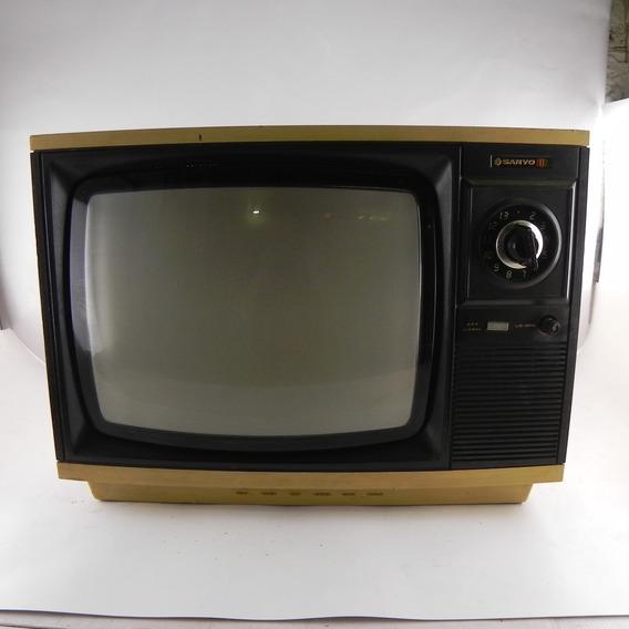 Tv Antigo Sanyo Ctp3722 D2bl Decoração C/ Defeito