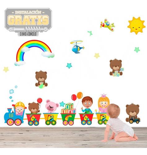 Vinilo Infantil Decora Nido Niños Tren Oso Beb + Instalacion