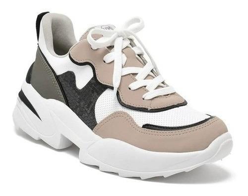 Tênis Feminino Casual Sneaker Chunky Via Marte 20-13103 Bege