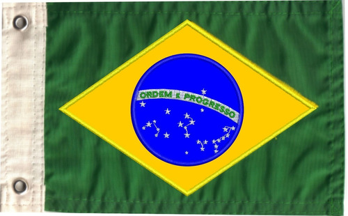 Bandeira Brasil Bordada Dupla Face P/motos, Triciclos, Barco