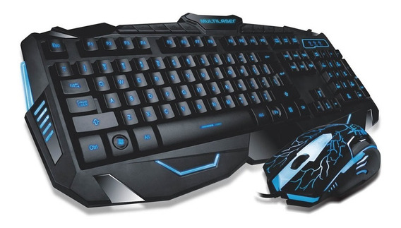 Kit Teclado E Mouse Gamer Multilaser Led Lightning Tc195 Loi