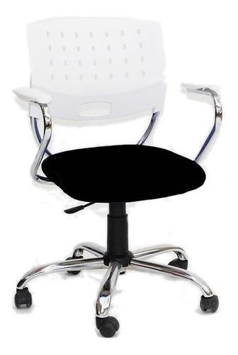 Silla de escritorio JMI Greta Giratoria Cromada  blanca y negra