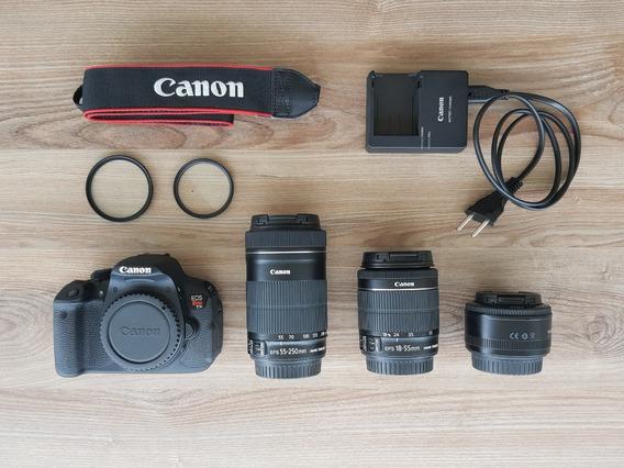 Camera Canon T5i Com 3 Lentes E Tripé