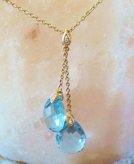 Collar Con Topacios Azules Y Diamantes Cadena Rolo 41cm 14k