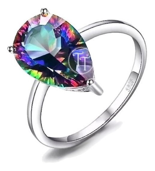 Anillo Topacio Arcoiris 3.6 Plata Esterlina 925 Pear Concave