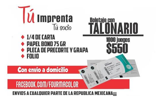 Boletos Con Talonario Foliados, 1000 Juegos, 1/4 De Carta
