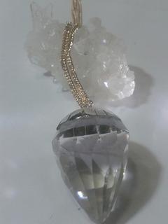 Se Vende Pendulo Facetada De Cuarzo Cristal M.en Plata